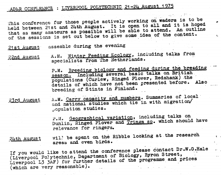 Extract from WSGB Vol 15 showing the 1975 conference announcement